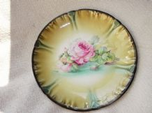VERY OLD FRANZANT MEHLEM BONN IMPRESSED FLORAL DEEP DISPLAY PLATE PINK ROSE